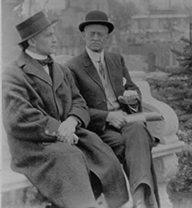 Houdini and William at the gravesite established by Houdini for the Weiss Family. (Circa 1914)
