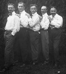 Houdini and his four brothers in the photograph that Piper discovers in Chapter 15. William is on the far right. (Circa 1914)